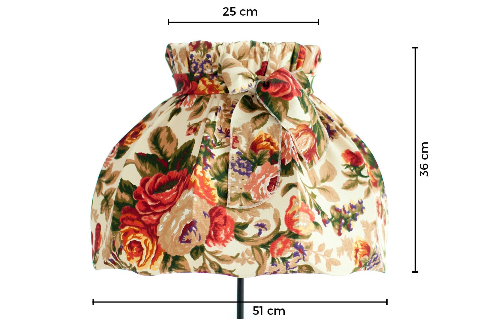 abażur z kokardą duży tkanina róże